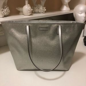 Kate spade sliver shiny totes with zipper